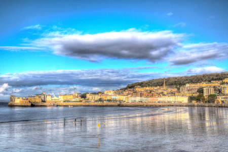 brean down: Weston-super-Mare seafront Somerset England UK in colourful HDR