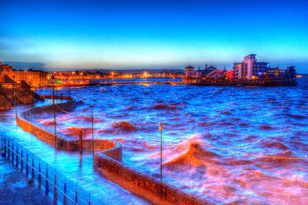 birnbeck: Weston-super-Mare, Somerset-3 gennaio 2013 I venti forti e le alte maree combinati per portare Capodanno inondazioni a Weston-super-mare sul lungomare di Venerd� 3 gennaio 2014