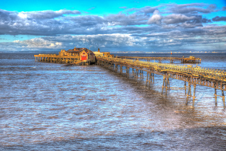 brean down: Birnbeck Pier Weston-super-Mare Somerset England in colourful HDR