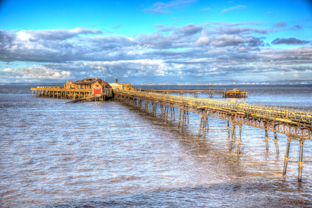 birnbeck: English pier Weston-super-Mare Somerset England in colourful HDR