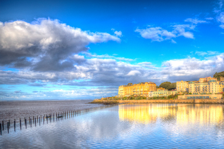 brean beach: Marine Lake causeway Weston-super-Mare Somerset England on a sunny morning in colourful HDR Stock Photo