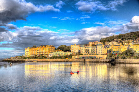 Marine Lake in Weston-super-Mare Somerset England on a sunny morning in colourful HDR photo
