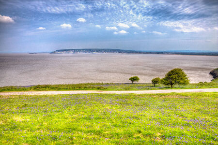 brean: Weston-super-mare bay and bluebells Somerset England in HDR