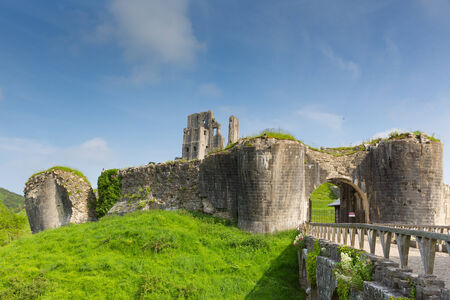 conqueror: English castle Corfe Dorset England built by William the Conqueror