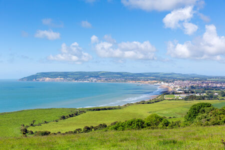 wight: Isle of Wight coast view towards Shanklin and Sandown from Culver Down Stock Photo