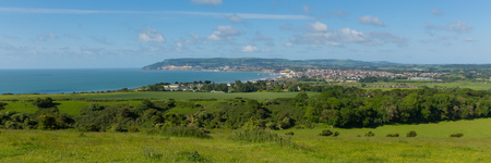 iow: Isle of Wight coast view towards Shanklin and Sandown from Culver Down Stock Photo