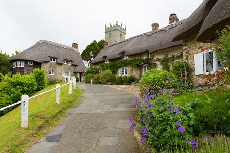 wight: Godshill village Isle of Wight located between Newport and Ventnor in the southeast of the Island, scenic location and tourist attraction with quaint houses