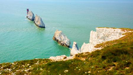 The Needles landmarks tourist attraction Isle of Wight UK close to Alum Bay