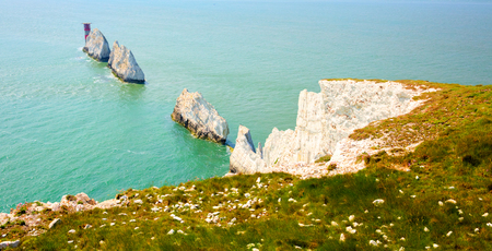 The Needles Isle of Wight UK close to Alum Bay Banque d'images