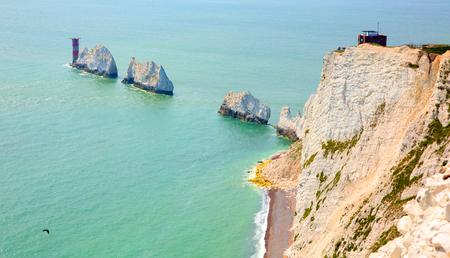 The Needles Isle of Wight landmark by Alum Bay tourist attraction