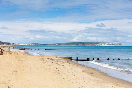 wight: Shanklin beach Isle of Wight view to Culver Down