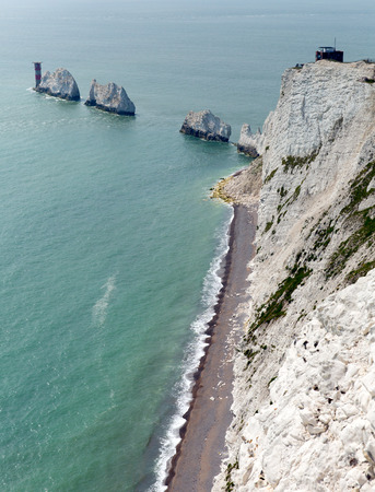 iow: The Needles Isle of Wight landmark by Alum Bay in portrait