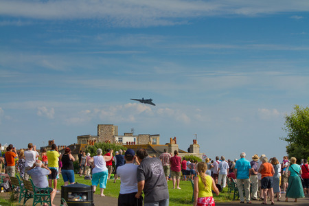 steep holm: Vulcan bomber military aircraft formerly used by the British RAF at the Weston Air Festival Weston-s-Mare on Sunday 22nd June 2014 Editorial