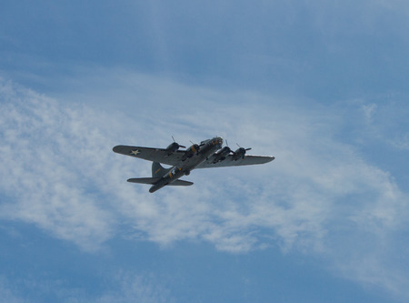 Flying Fortress bomber B-17 aircraft used by United States Army Air Forces USAAF in World War II and manufactured by Boeing