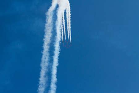 steep holm: The Red Arrows jet planes British RAF aerobatic display team