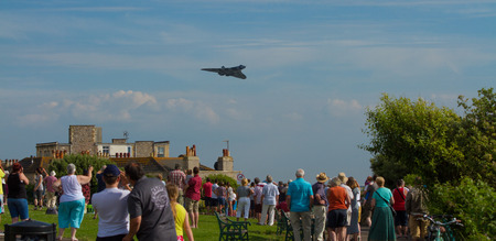 brean down: Crowds thrilled by Vulcan bomber military aircraft formerly used by the British RAF at the Weston Air Festival Weston-s-Mare on Sunday 22nd June 2014