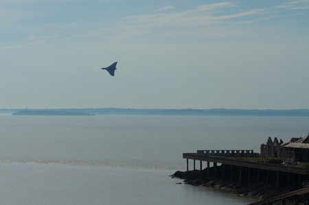 brean down: Vulcan bomber military aircraft formerly used by the British RAF at the Weston Air Festival Weston-s-Mare on Sunday 22nd June 2014 Stock Photo