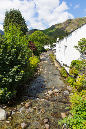 lake district england: View of stream and mountains in Coniston town Lake District England with hot sunny summer weather