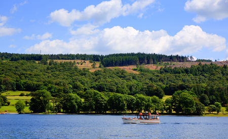 lake district england: Pleasure boat on Coniston water Lake District England in summer