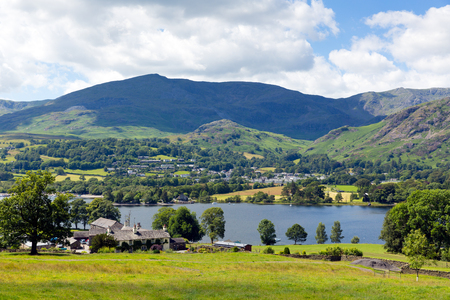 Coniston Water and mountains in Lake District, England Stock Photo