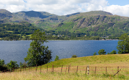 lake district england: Coniston Water and mountains in Lake District, England Stock Photo