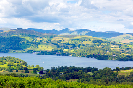 Windermere Lake District National Park in England on a beautiful summer day