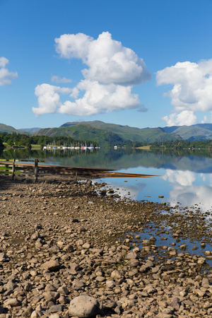 Ullswater, The Lakes in Cumbria, England with mountains and blue sky on beautiful calm sunny summer day with reflections and clouds from sunny weather photo