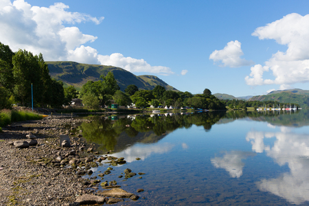Ullswater, The Lakes in Cumbria, England with mountains and blue sky on beautiful still summer day with reflections from sunny weather photo