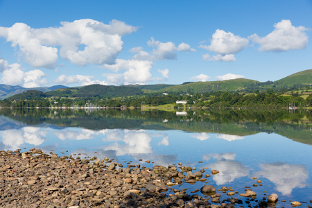 UK Lake District Ullswater Cumbria England with mountains and blue sky on beautiful still summer day with water reflections from sunny weather photo