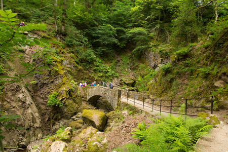 beautiful woodland: Tourists at Aira Force waterfall in Ullswater Valley Lake District, Cumbria, England in beautiful woodland with bridge Editorial
