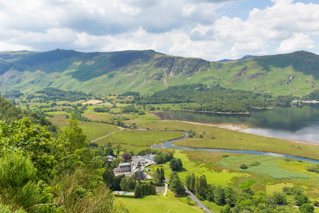 High Spy and maiden Moor mountains from Derwent Water Lake District National Park in Cumbria