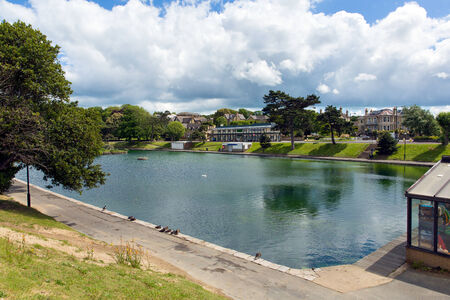 Boating lake Ryde Isle of Wight with blue sky and sunshine in summer in this tourist town on the north east coast of this English island