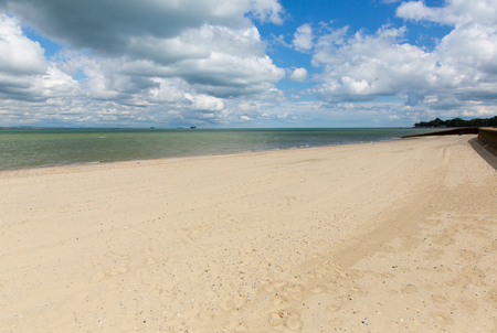 Sandy beach Ryde Isle of Wight with blue sky and sunshine in summer in this tourist town on the north east coast of this English island IOW