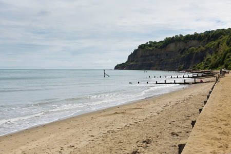 iow: Beach Shanklin town Isle of Wight England UK, popular tourist and holiday location east coast of the island on Sandown Bay
