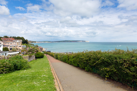 iow: Path to seafront Shanklin Isle of Wight England UK, popular tourist and holiday location east coast of the island on Sandown Bay with sandy beach