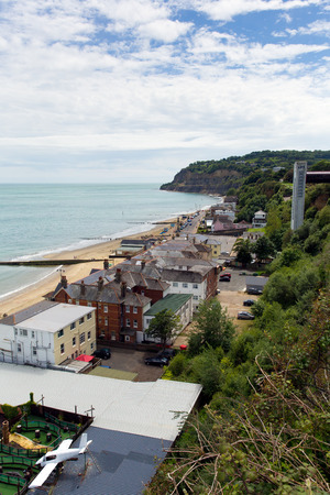 iow: Shanklin Isle of Wight England UK, popular tourist and holiday location east coast of the island on Sandown Bay with sandy beach Stock Photo