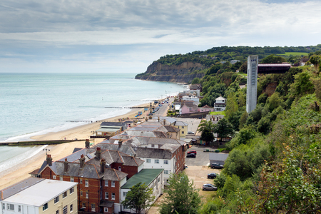iow: Shanklin town Isle of Wight England UK, popular tourist and holiday location east coast of the island on Sandown Bay with sandy beach Stock Photo