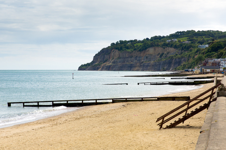 iow: Shanklin beach Isle of Wight England UK, popular tourist and holiday location east coast of the island on Sandown Bay with sandy beach