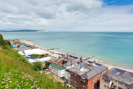 Isle of Wight Shanklin popular tourist and holiday location east coast of the island on Sandown Bay with sandy beach