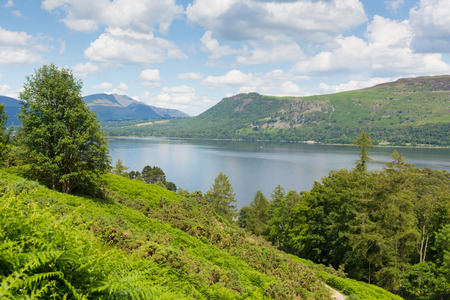 View across Derwent Water to Castlerigg Fell and Bleaberry Fell Lake District England UK photo