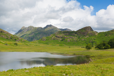 langdale pikes: Blea Tarn and Langdale Pikes between Great Langdale and Little Langdale Lake District Cumbria England UK Stock Photo