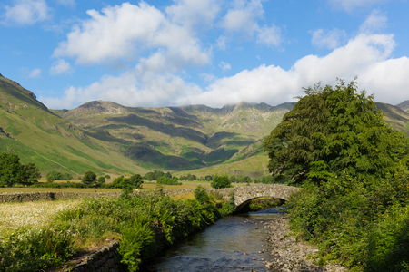 langdale pikes: Mickleden Beck river Langdale Valley Lake District by Old Dungeon Ghyll The Lakes Cumbria England United Kingdom UK by campsite Stock Photo