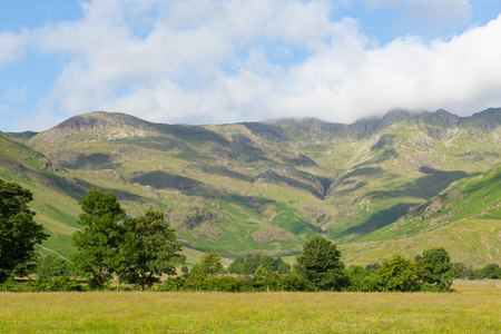 langdale pikes: Langdale Valley Lake District Cumbria mountains near Old Dungeon Ghyll England UK in summer blue sky and clouds scenic