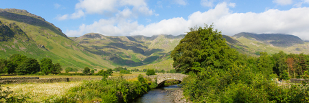 Lake District panorama beautiful river Mickleden Beck Langdale Valley by Old Dungeon Ghyll The Lakes Cumbria England United Kingdom UK by campsite