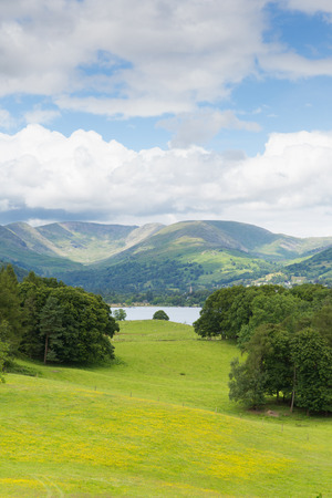 langdale: Country scene of Langdale Valley and Fairfield Horse mountains from Wray Castle Lake District Cumbria uk