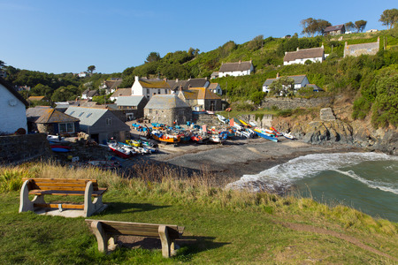 Cadgwith beach and boats Cornwall England UK on the Lizard Peninsula between The Lizard and Coverack photo