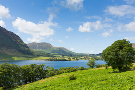 UK Lake District Crummock North West England UK between Buttermere and Loweswater on summer day with blue sky and white clouds Reklamní fotografie