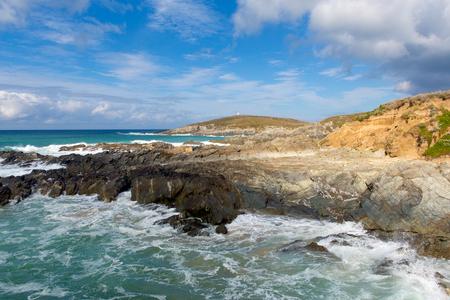 headland: Newquay coast Cornwall England UK at Little Fistral and Nun Cove
