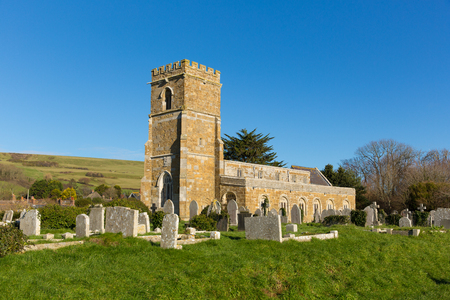 English village church Abbotsbury Dorset UK in the village known for its swannery, subtropical gardens and historic stone buildings on the Jurassic Coast
