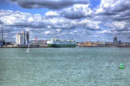 hdri: Southampton Docks England UK from the isle of Wight ferry